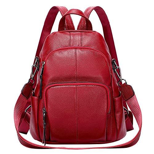 ALTOSY Soft Leather Backpack Purse For Women Anti-theft Backpacks Versatile Shoulder Bag Medium (S81 Red Wine)