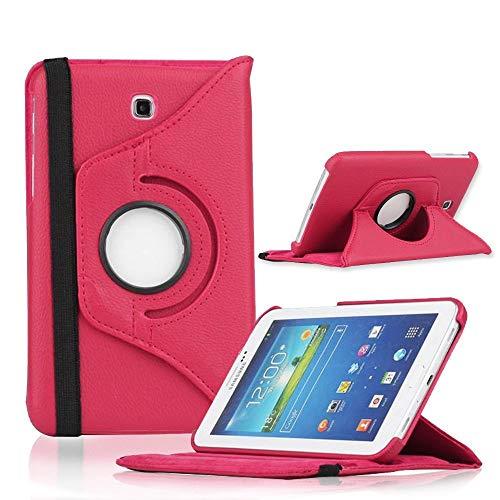 COOVY® Cover für Samsung Galaxy TAB 3 7.0 GT-P3200 GT-P3210 SM-T210 SM-T211 Rotation 360° Smart Hülle Tasche Etui Case Schutz Ständer | hotpink