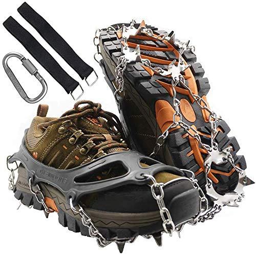 unisoul Steigeisen, Schuhkrallen mit 19 Edelstahl Zähne Spikes Universal Anti-Rutsch Grödel für Winter Walking High Altitude Wandern Bergsteigen auf EIS Schnee Gletscher (Schwarz, XL)