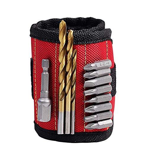 QHGao Magnetische polsbandhouder met 6 krachtige magneten voor het bevestigen van gereedschap, schroeven, spijkers, bouten, boorbeten en gadgets, verstelbaar, mannen, dames, DIY Handyman