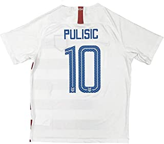 New #10 USA Soccer Pulisic 2018/2019 Mens Home Jersey Color White (S-L)