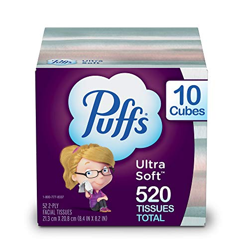 Puffs Tejidos faciales ultra suaves sin loción, 10 cubos, 52 pañuelos por caja (520 pañuelos en total)