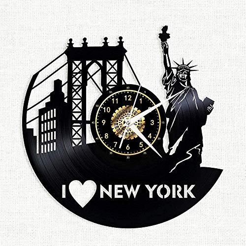 Reloj de Pared de Vinilo I Love New York Reloj de Pared con Disco de Vinilo Regalo para Miembros de la Familia Feliz Fiesta de Bierthday Regalo para él Sus Mujeres Hombres 12 Pulgadas