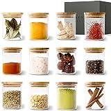KIVY® Gewürzgläser Set [12 x 150ml] – Stapelbare Gewürzdosen aus Glas – Gewürzbehälter Set Rund - Gewürzaufbewahrung - Gewürze Aufbewahrung - Gewürzglas Set Klein - Spice Jars - Gläser für Gewürze