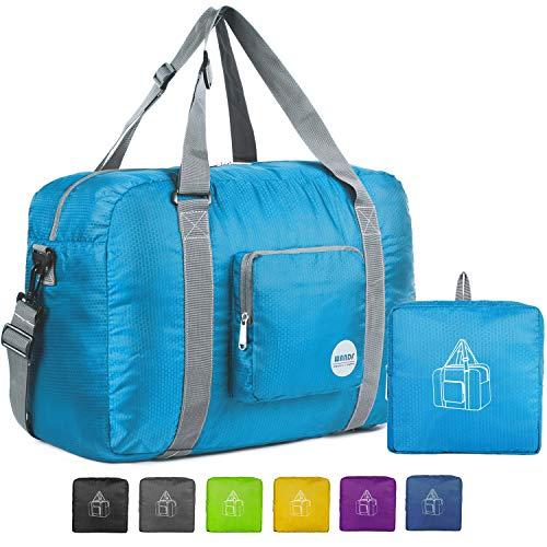 Wandf Foldable Travel Duffel Bag Luggage Sports Gym Water Resistant Nylon, Blue