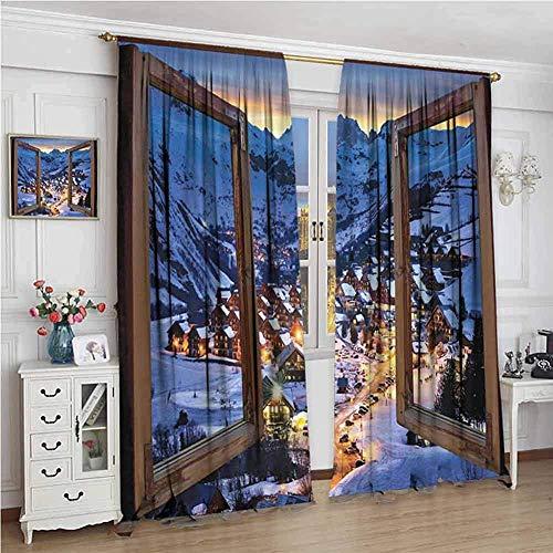 Landelijke warmte isolatie gordijn natuur houten ramen stadsbeeld Europese berghuizen dorp huisjes boerderij uitzicht voor woonkamer,2 panel sets W52xL72 Inch