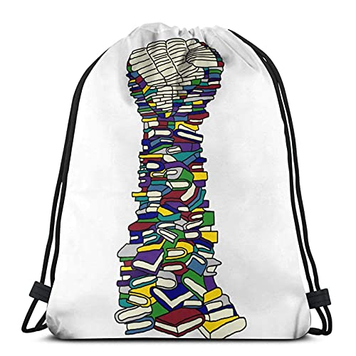 J-S bolsa de cordón Knowledge Is Power Gym Saco de escuela para mochila