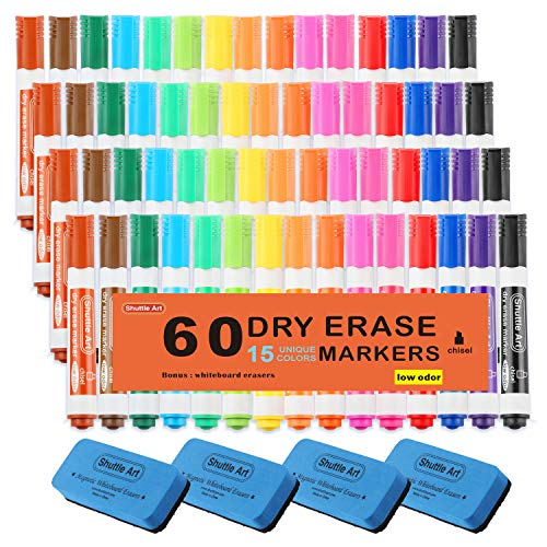 Dry Erase Markers, 60 Pack Shuttle Art 15 Colors Bulk White Board Markers with Eraser, Chisel Tip Dry Erase Markers Perfect for Writing on Whiteboards, Dry-Erase Boards, Mirrors for School Home Office