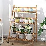 unho Escalera para Flores de Bambú Estantería Decorativa para Macetas Soporte para Plantas...