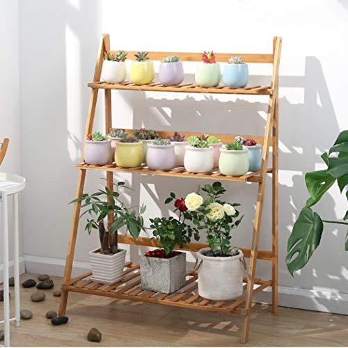 medla Blumentreppe aus Holz, Blumenständer für innen draußen, 3-stufig, Pflanzentreppe Klappbar, Blumenleiter Bambus 70 x 38 x 97cm, Braun