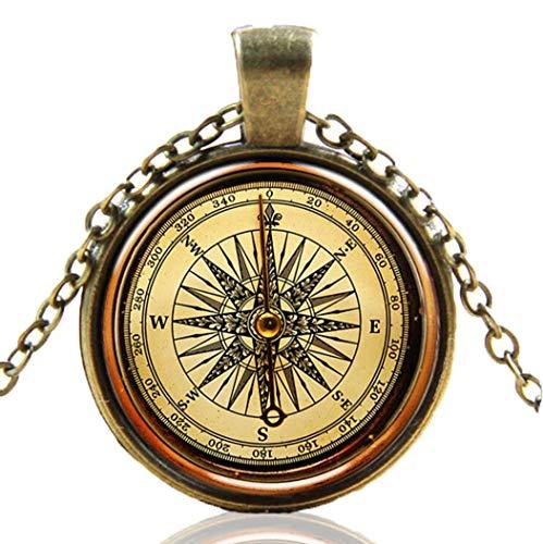IYOU Collar vintage colgante de bronce estilo antiguo cadena de estilo antiguo de la imagen de la moda Collares joyería para mujeres y niñas (brújula A)