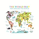Zerama Removable Animal World Map Wall Sticker Hot Air Balloon Large Tree Decals Kids Room Preschool Education PVC Wallpaper