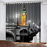 CoSept Blackout Curtains,The Big Ben and The Westminster Bridge at Night in UK Street River European Look Decorative,for Bedroom (2 Panels,51.96x84.64 Inch),Grey Yellow