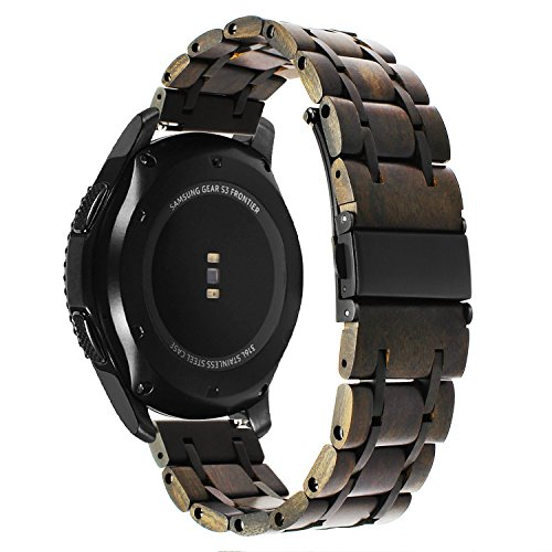 for Gear S3 / Galaxy Watch 46mm Bands, TRUMiRR 22mm Natural Wood & Stainless Steel Watchband Quick Release Strap for Samsung Gear S3 Classic/Frontier, Fossil Mens Gen 4 Explorist HR, TicWatch Pro