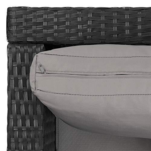 SVITA Queens 2020 Poly Rattan Sitzgruppe Couch-Set Ecksofa Sofa-Garnitur Gartenmöbel Lounge Schwarz, Grau oder Braun (Schwarz) - 5