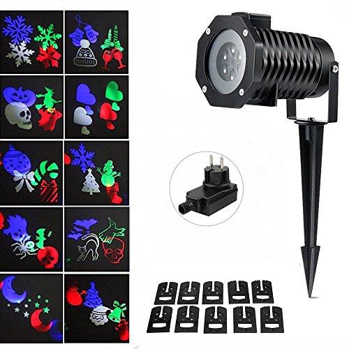 onerbuy LED proiettore di luce di natale all' aperto drehenden notte luce del proiettore del fiocco di neve del Faro, 10modello scintillante paesaggio Light Show per festa, partito, Halloween nero