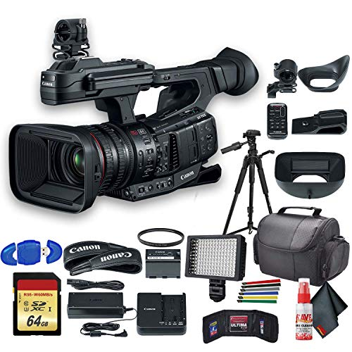 """Canon XF705 4K 1"""" Sensor XF-HEVC H.265 Pro Camcorder (3041C002) with UV Filter, Tripod, Padded Case, LED Light, 64GB Memory Card and More Starter Bundle"""