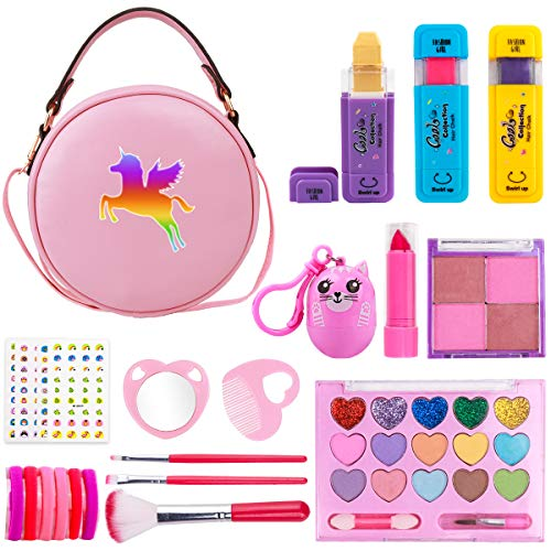 Funplus Kids Makeup Set for Girls, 23PCS Real Washable Cosmetics Kit with Unicorn Makeup Bag, Hair Chalks, Makeup Palette, Birthday for Little Girl Princess