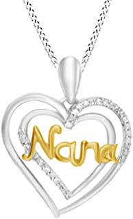 Natural Diamond Accent Nana Double Heart Chain Pendant Necklace in 925 Sterling Silver