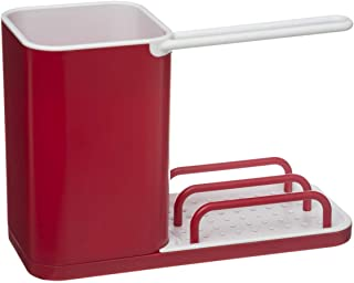 VITA PERFETTA Organisateur d'Evier - Rangement Evier - Range Éponge, Grattoir, Brosse, Liquide Vaisselle (Rouge)
