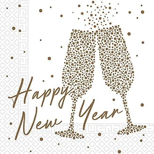 Procos 93894 93894 Servilletas Happy New Year, 20 unidades, tamaño 33 x 33 cm, 3 capas, FSC, Nochevieja, multicolor
