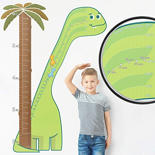 Watch Me Grow  1:1 Scale Percentile Growth Chart for Kids Dinosaur Wall Sticker Decor for Boys Dinosaur Decorations