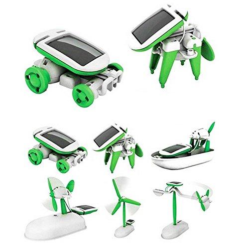 ouken 1Pack 6 en 1 Kit Solar Powered Robot de Juguete de los ni/ños DIY Juguetes solares educativos del Coche del Barco del Ventilador Modelo de Regalos de cumplea/ños para ni/ños
