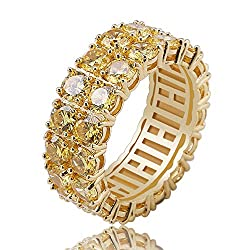 Golden Rhinestones 2Rows Round Cut 14K Silver Plated Ring
