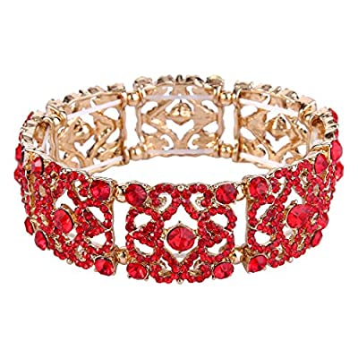 EVER FAITH Women's Austrian Crystal Vintage Style Gorgeous Flower Stretch Bracelet Red Gold-Tone