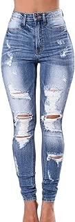 Macondoo Women Slim High Waist Ripped Jean Faded Trousers Denim Pants