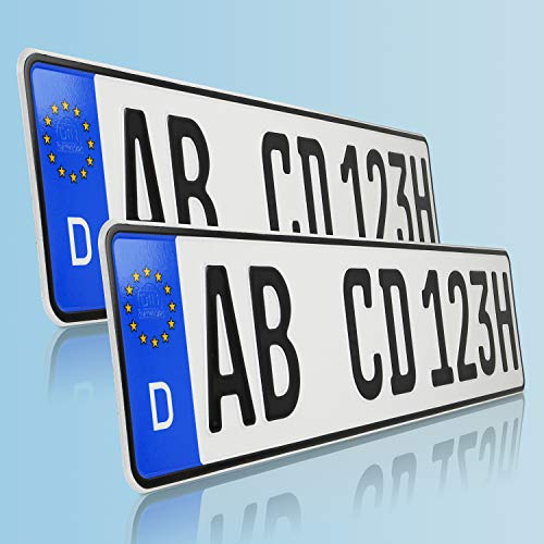 TEILE-24.EU Malinowski 2 x historische Kfz Kennzeichen Autoschilder H Kennzeichen für Oldtimer mit individueller Prägung nach Ihren Vorgaben