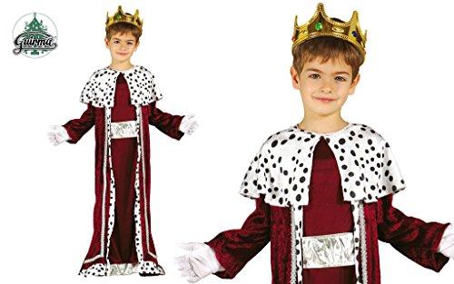 Guirma- Gaspare Costume Bambino Re Magio, Colore Rosso e Bianco, 5-6 Anni, 42426