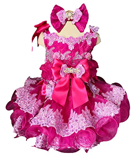 Jenniferwu semi Glitz Infant Toddler Baby Newborn Little Girl's Pageant Party Birthday Dress G218D Size 3T Fuchsia Lilac