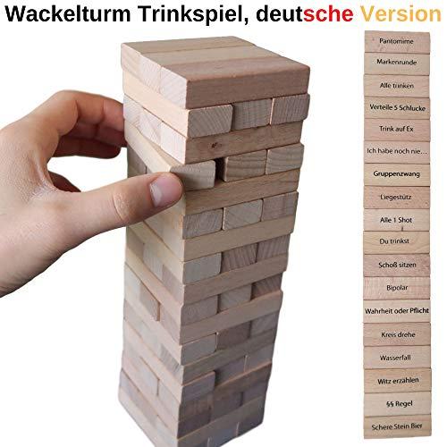 Wackelturm Trinkspiel, deutsche Version, mit 54 bedruckten Holzklötzen, große Größe, mit 18 x 3 versch. Aufgaben und Regeln, Vorglühen Saufspiel, Partyspiel für Geburtstage, Party Tower für Erwachsene