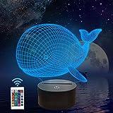 FULLOSUN Night Lights for Kids Ocean Whale Illusion 3D Night Light Bedside Lamp