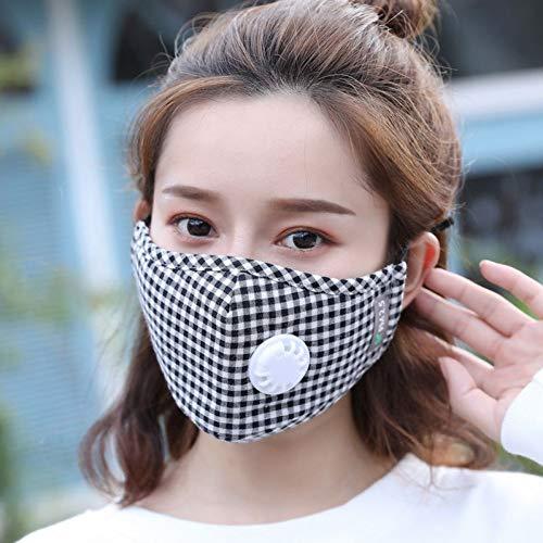 MKDASFD La mascarilla Nasal de algodón para Hombres y Mujeres con Capucha Lavable a Prueba de Polvo y antivaho Puede Limpiar repetidamente la mascarilla de celosía Negra