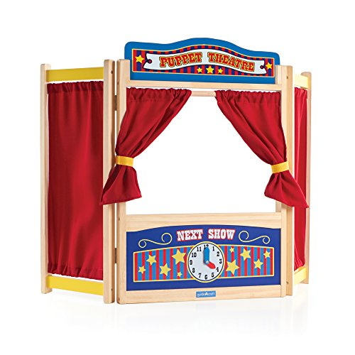 Guidecraft Wooden Tabletop Puppet Theater For Kids - Toddler's Foldable Dramatic Play Imaginative