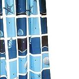 Daloual Duschvorhang/Brausevorhang/Vorhang/Dusche Duschgardine180 x 200 cm Blau Meer