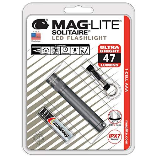 Mag-Lite SJ3A096 Solitaire - Linterna led mini (8cm, incluye una microbatería y un colgante para el llavero), color gris