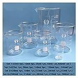 HXF Hxfang Laboratorio de Vidrio Borosilicato de Borosilicato de Borosilicato de 1set tamaños Forma química Borosilicato 3.3 Vidrio con graduación (Capacity : Set 1)