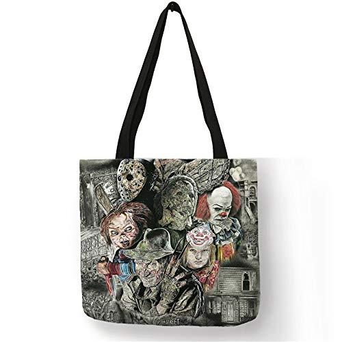 LINADEBAO Einkaufstaschen für Frauen, Horror-Film-Figuren, Leinentasche mit Druck, umweltfreundlich, wiederverwendbar, 002
