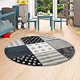 Maui Kids - Alfombra infantil redonda - Diseño a cuadros - Estampado con estrellas - gris turquesa en 3 tamaños