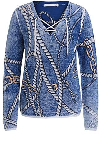 Oui Strickpullover mit Seil-Design Gr. 38, blau / grau