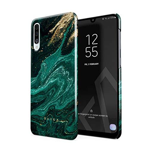 BURGA Hülle Kompatibel mit Samsung Galaxy A50 - Handy Huelle Grün Smaragd Juwel Marmor Muster Emerald Green Gold Marble Mädchen Dünn Robuste Rückschale aus Kunststoff Handyhülle Schutz Case Cover