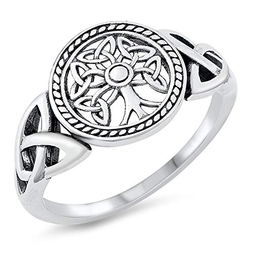 CloseoutWarehouse Sterling Silver Celtic Tree of Life Signet Ring Size 5
