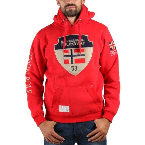 Geographical Norway FINMARK - Sudadera con capucha para hombre, color rojo, talla S