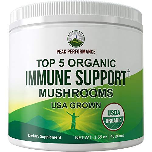 Immunity Support - Top 5 Organic (USA Grown) Immune Support Mushrooms Powder. Vegan Supplement Mushroom Powders Extract Blend with Reishi, Chaga, Maitake, Shiitake, Turkey Tail. Adaptogenic Complex
