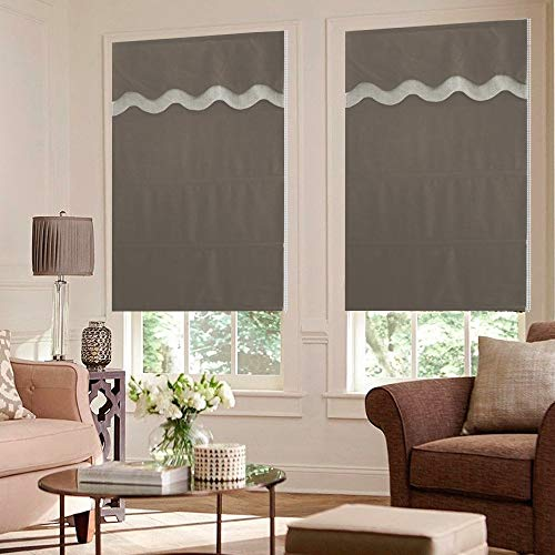Artdix Roman Shades Blinds Window Shades - Brown Blackout Lined Faux Linen Thermal Fabric Custom Roman Shades for Windows, Doors, French Doors, Kitchen, Including Valance