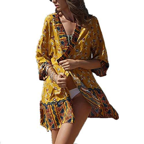 QuRRong Ladies Short tee Bohemia Moda Protector Solar Ethnic Print Bikini Beach Sun Cubierta Superior de Vacaciones Vestido for la Playa para Fiesta de Vacaciones (Color : Yellow, Size : L)