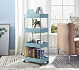 Bigzzia Carrito de almacenamiento, estantería móvil delgada de 4 niveles de malla con ruedas, ideal como organizador multifunción para la cocina o el baño en lugares estrechos